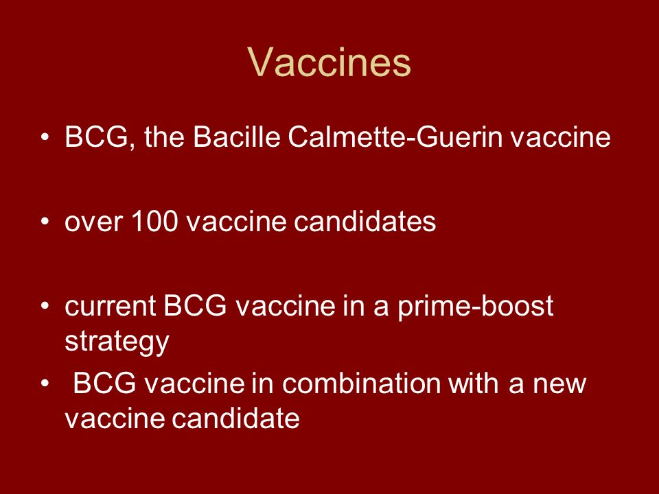 Vaccines BCG, the Bacille Calmette-Guerin vaccine over 100 vaccine candidates current BCG vaccine in a prime-boost strategy BCG vaccine in combination with a new vaccine candidate