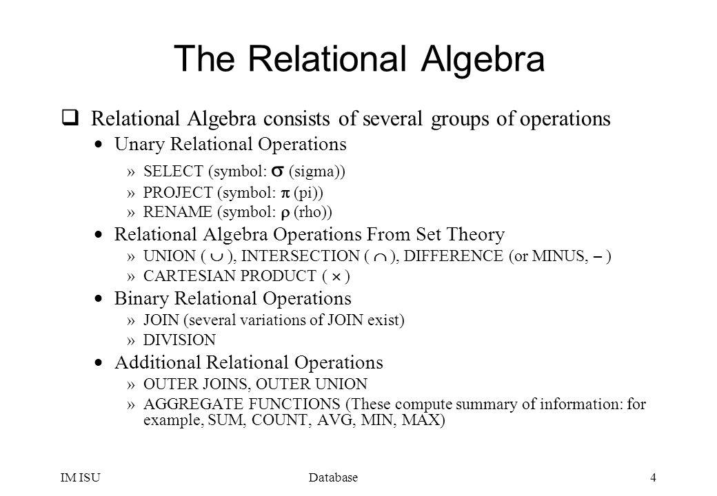 relational algebra symbols