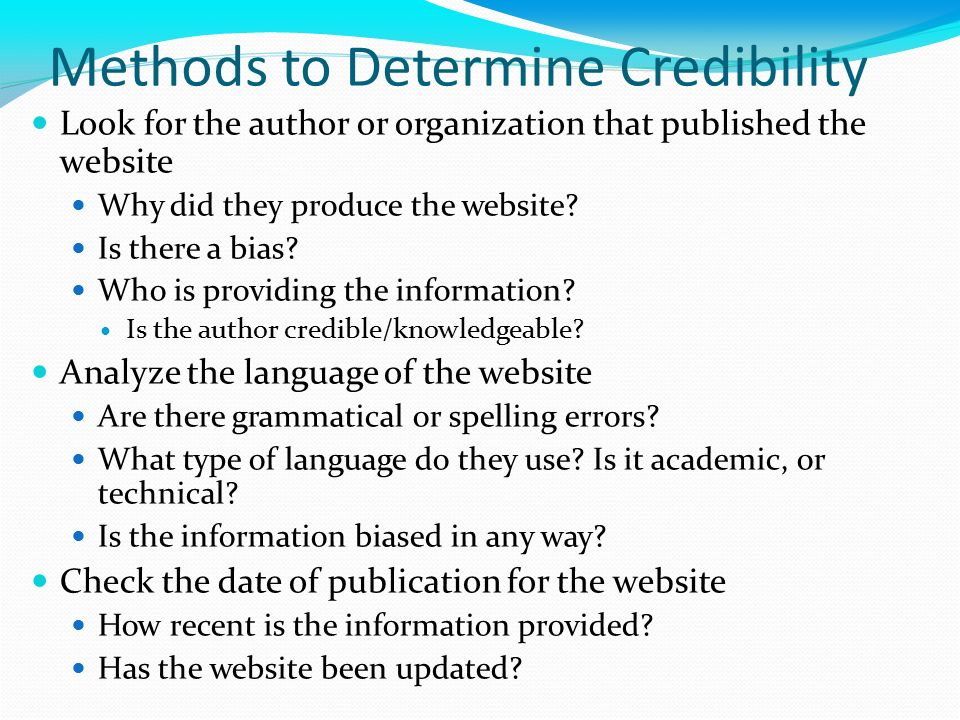10 ways to determine credibility on