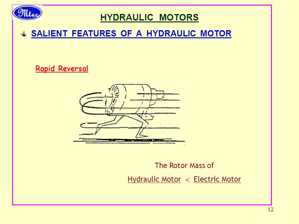 12 HYDRAULIC MOTORS SALIENT FEATURES OF A HYDRAULIC MOTOR Rapid Reversal The Rotor Mass of Hydraulic Motor  Electric Motor