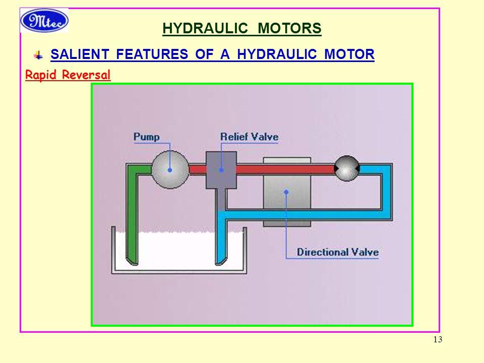 13 HYDRAULIC MOTORS SALIENT FEATURES OF A HYDRAULIC MOTOR Rapid Reversal