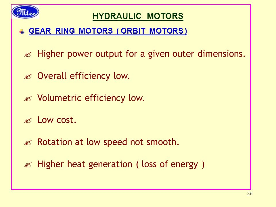 26  Higher power output for a given outer dimensions.