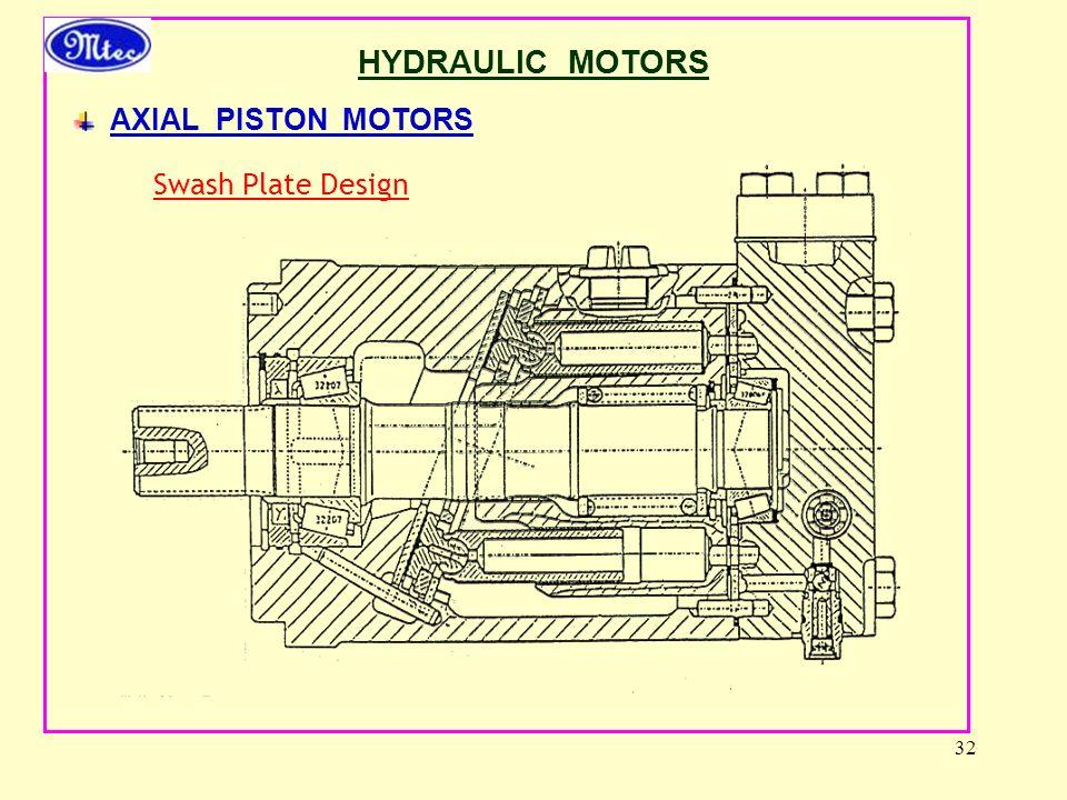32 HYDRAULIC MOTORS AXIAL PISTON MOTORS Swash Plate Design