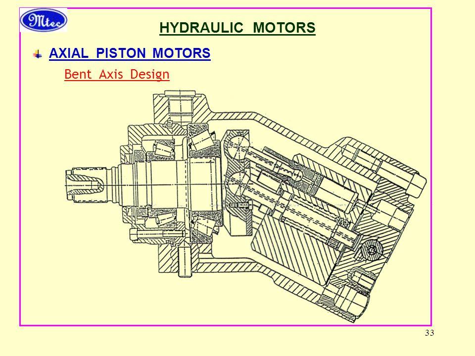 33 HYDRAULIC MOTORS AXIAL PISTON MOTORS Bent Axis Design