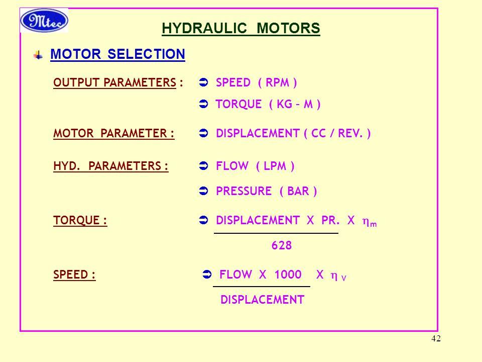 42 HYDRAULIC MOTORS MOTOR SELECTION OUTPUT PARAMETERS :  SPEED ( RPM )  TORQUE ( KG – M ) MOTOR PARAMETER :  DISPLACEMENT ( CC / REV.