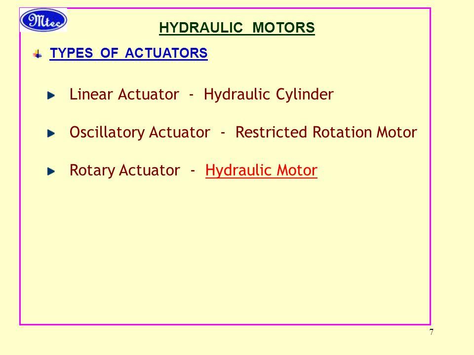 7 HYDRAULIC MOTORS TYPES OF ACTUATORS Linear Actuator - Hydraulic Cylinder Oscillatory Actuator - Restricted Rotation Motor Rotary Actuator - Hydraulic Motor