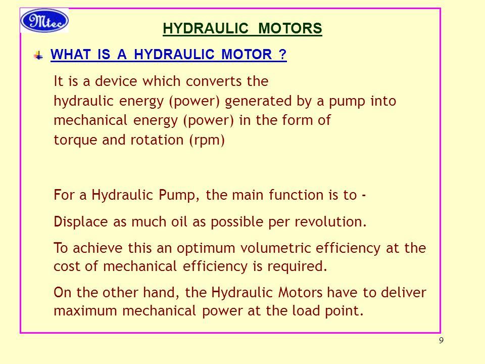 9 HYDRAULIC MOTORS WHAT IS A HYDRAULIC MOTOR .