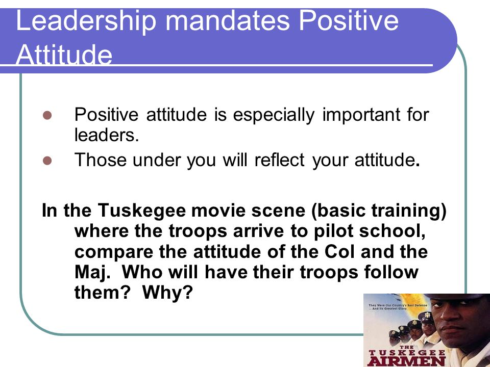 Results of attitude in AFJROTC JROTC program relies on every individual. Every person is a key to the success. Good attitude contributes to success Ne
