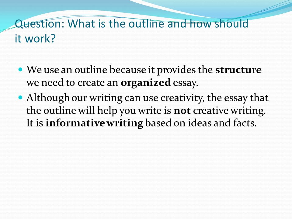 the structure of the essay outline In the outline stage of your essay, use this structure to make brief notes about what you're going to cover the introduction to an essay grabs the reader's attention and persuades her to read further in one or two introductory paragraphs, detail the context of the essay and your thesis statement.
