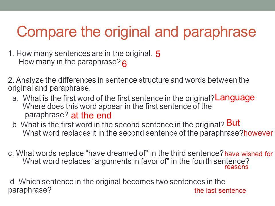 How to paraphrase sentences
