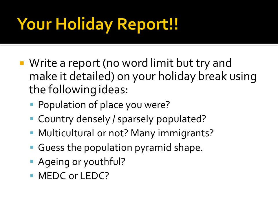 How to write a report on a country?