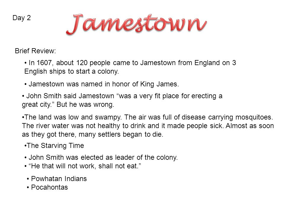 jamestown in the virginia company of london was formed by a day 2 brief review in 1607 about 120 people came to jamestown from england