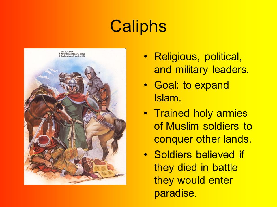 Caliphs Religious, political, and military leaders.