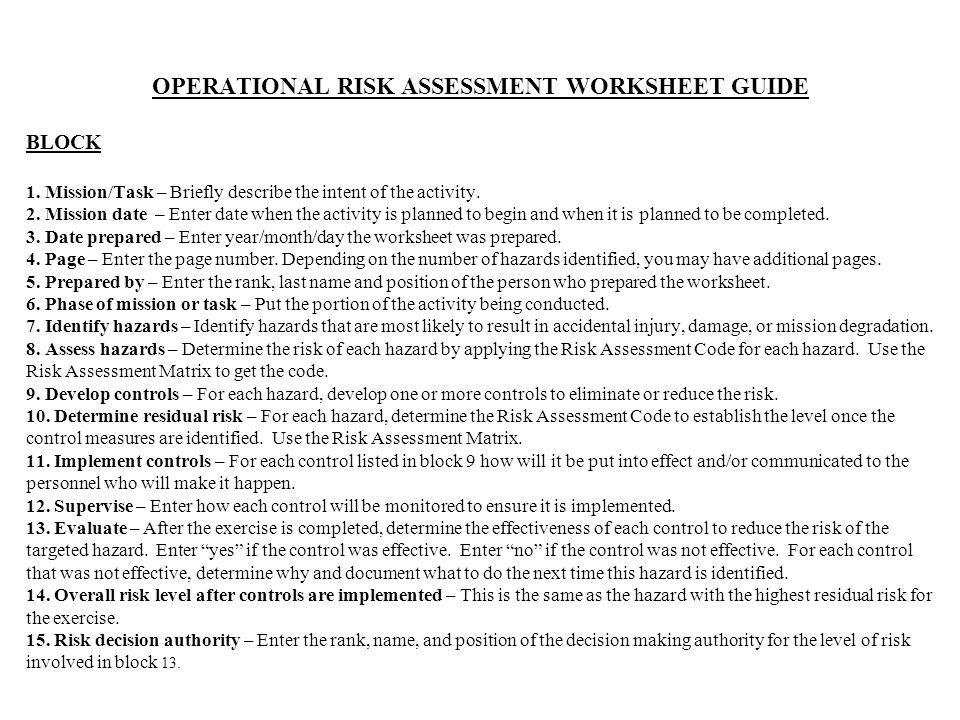 Worksheet Operational Risk Assessment Worksheet missiontask mission datedate prepared by personnel operational risk assessment worksheet guide block 1 briefly describe the intent