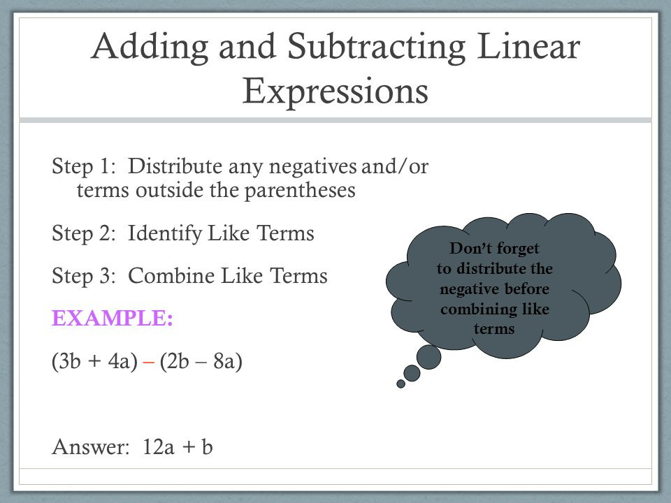 adding and subtracting linear expressions worksheet Termolak – Adding and Subtracting Linear Expressions Worksheet