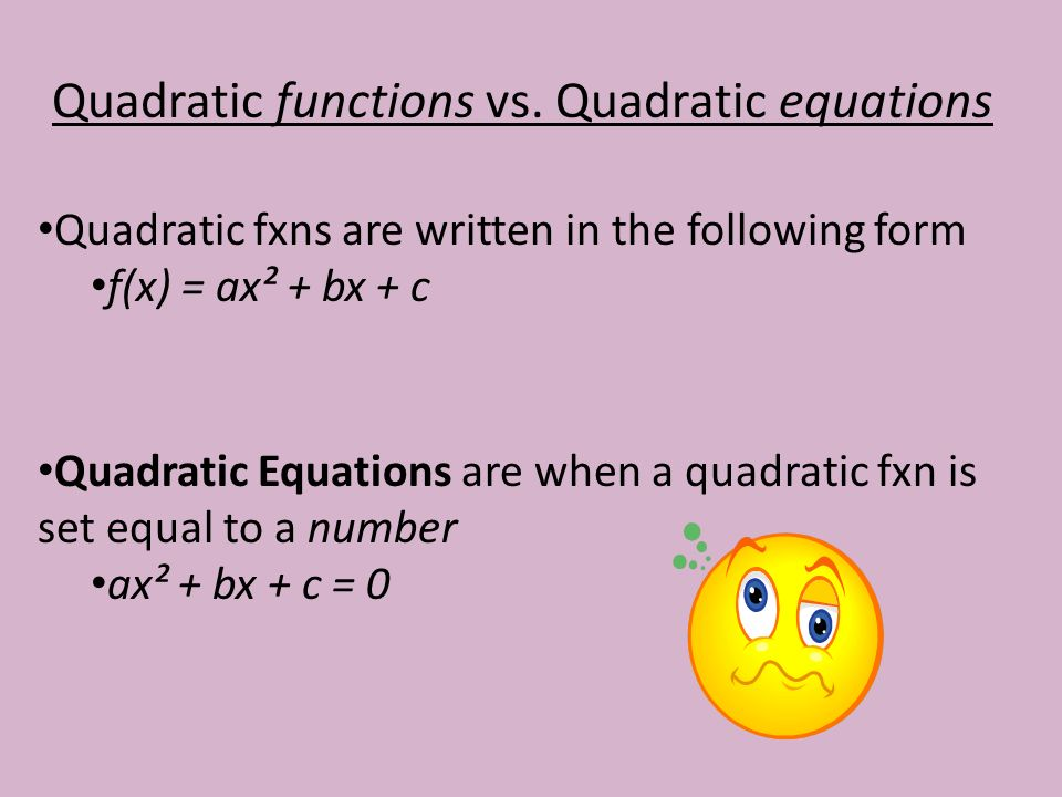 Quadratic functions vs.