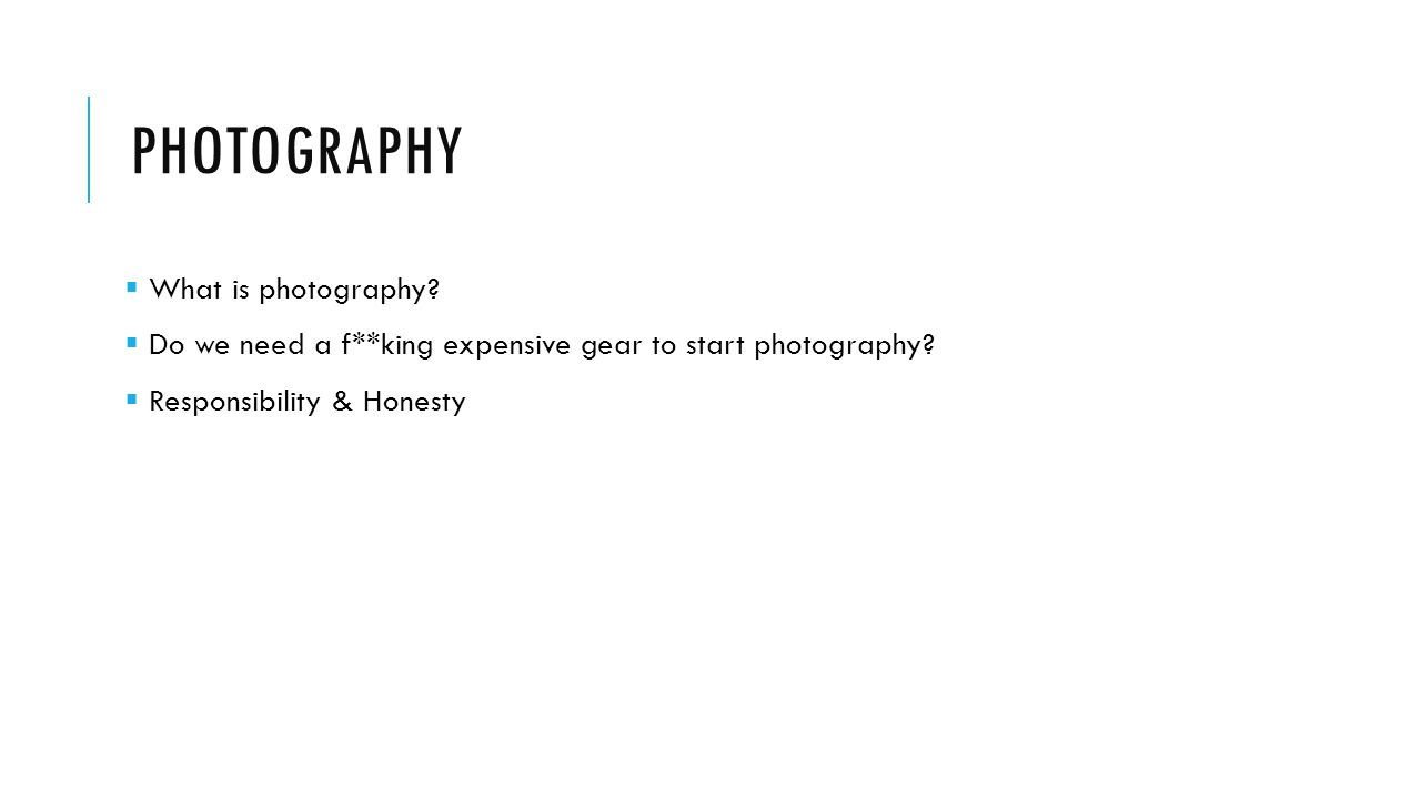 How to write an introduction to a Photography project?
