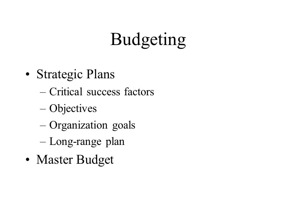 personal budget plans
