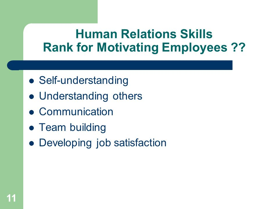11 Human Relations Skills Rank for Motivating Employees ?? Self-understanding Understanding others Communication Team building Developing job satisfac