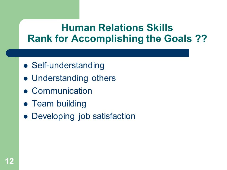 12 Human Relations Skills Rank for Accomplishing the Goals ?? Self-understanding Understanding others Communication Team building Developing job satis