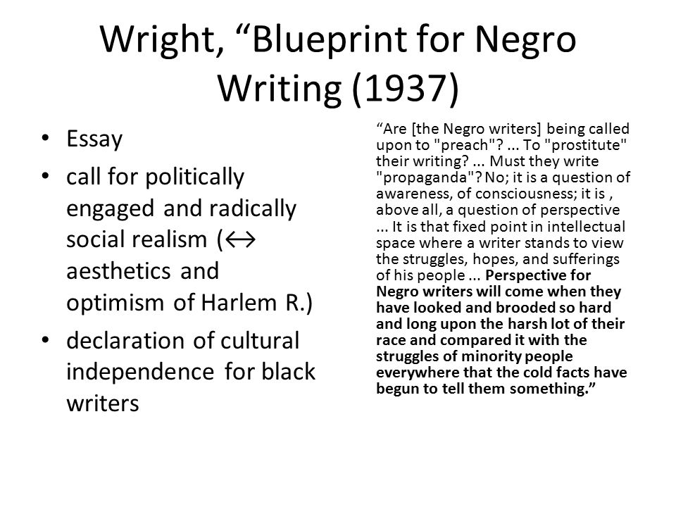 Fachbereich anglistik und amerikanistik sommersemester 2010 history wright blueprint for negro writing 1937 essay call for politically engaged and radically malvernweather Image collections