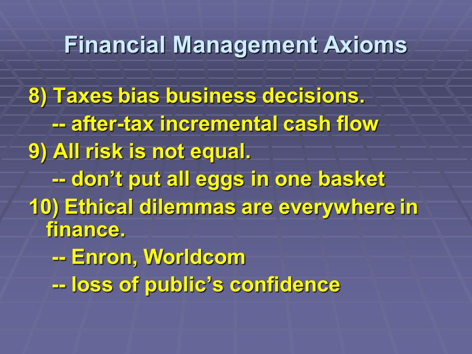 Financial Management Axioms 8) Taxes bias business decisions.