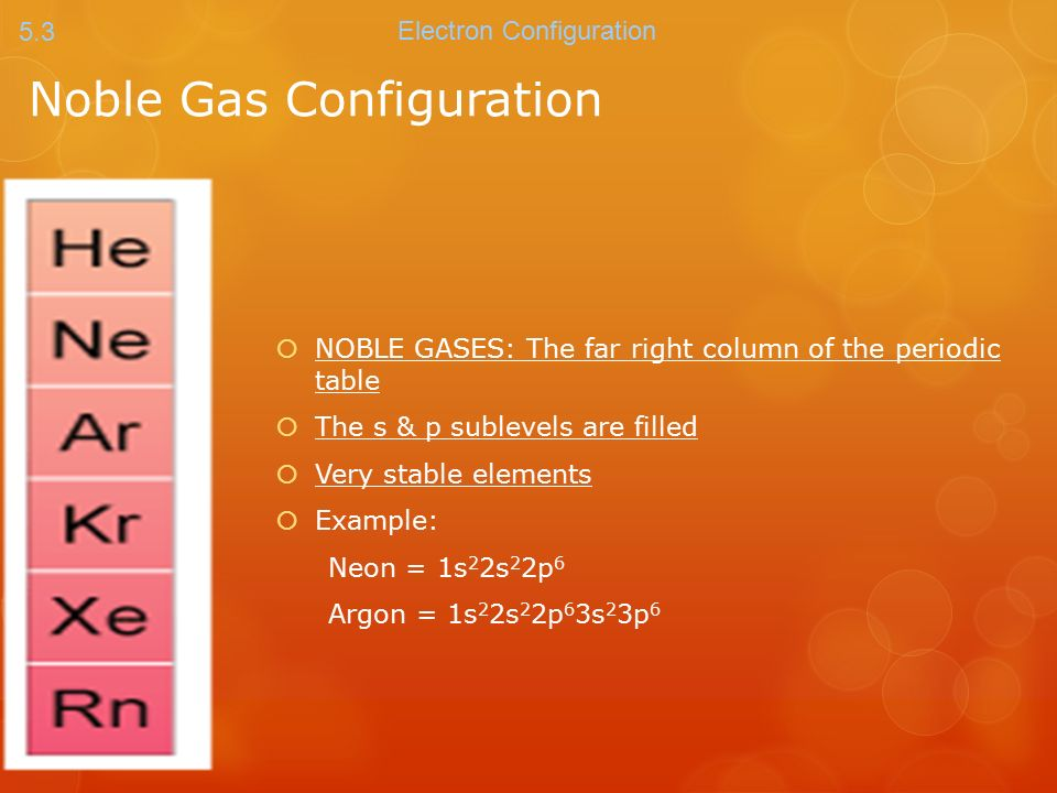 Periodic Table where are the noble gases on the periodic table located : Noble Gas Configuration  NOBLE GASES: The far right column of ...