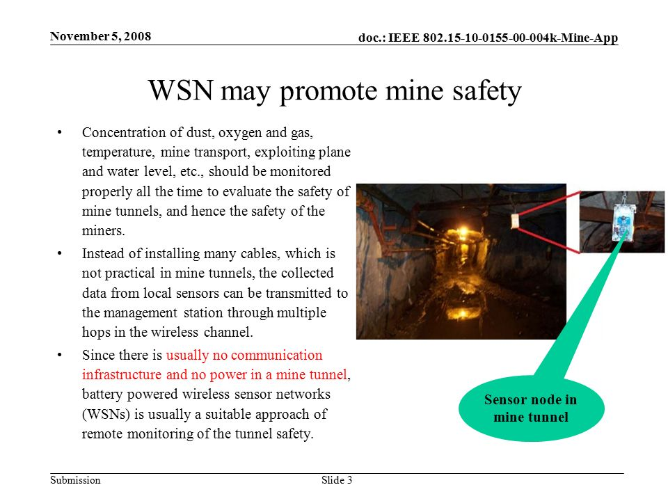 doc.: IEEE k-Mine-App Submission WSN may promote mine safety November 5, 2008 Slide 3 Concentration of dust, oxygen and gas, temperature, mine transport, exploiting plane and water level, etc., should be monitored properly all the time to evaluate the safety of mine tunnels, and hence the safety of the miners.
