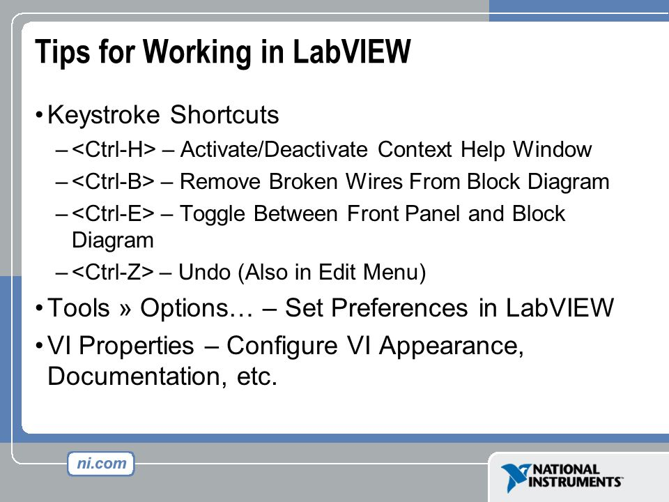 Virtual Instrumentation With LabVIEW. Front Panel Controls ...