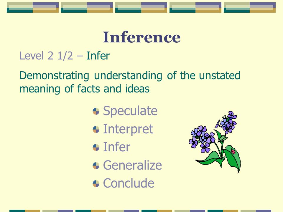Inference Speculate Interpret Infer Generalize Conclude Level 2 1/2 – Infer Demonstrating understanding of the unstated meaning of facts and ideas