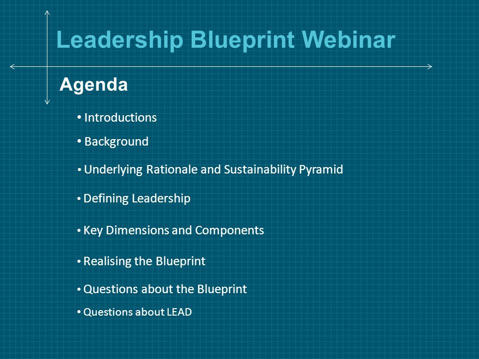 Leadership blueprint webinar agenda background defining leadership 1 leadership blueprint webinar agenda background defining leadership key dimensions and components realising the blueprint questions about lead questions malvernweather Images