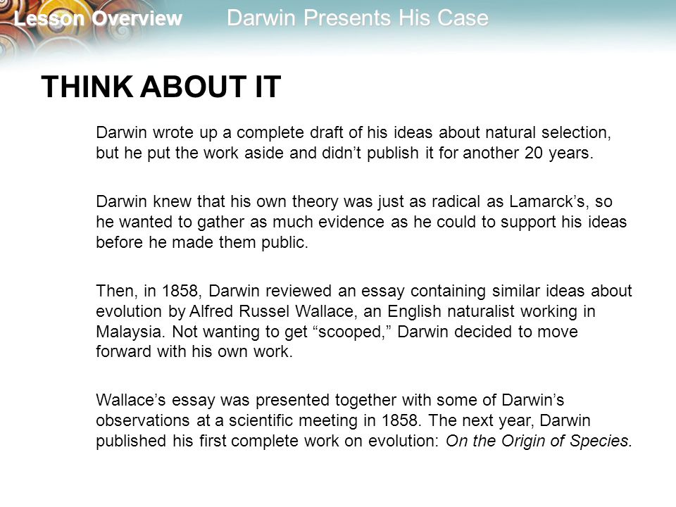 lesson overview lesson overview darwin presents his case lesson  2 lesson