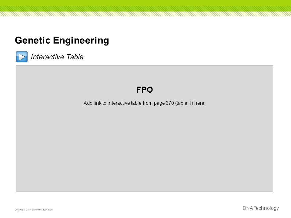 Genetic Engineering Interactive Table FPO Add link to interactive table from page 370 (table 1) here.