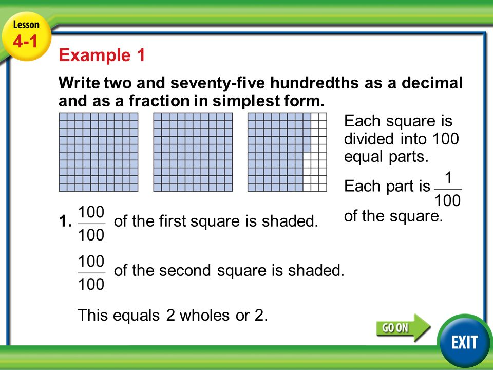 Lesson 4-1 Example Example 1 Write two and seventy-five hundredths ...