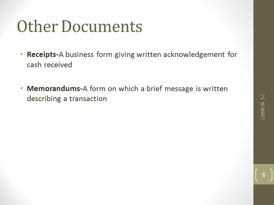 LESSON 31 Journals Source Documents and Recording Entries in a – Acknowledgement of Cash Received