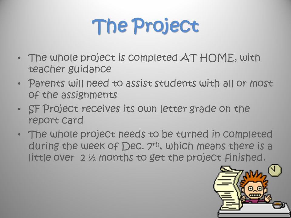 Letter home to parents from teacher about project