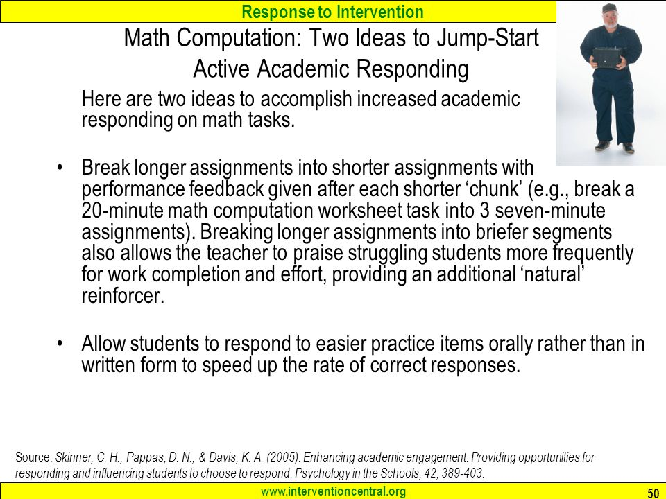 Response to Intervention 1 Elbow Group Activity How will your – Intervention Central Math Worksheet Generator