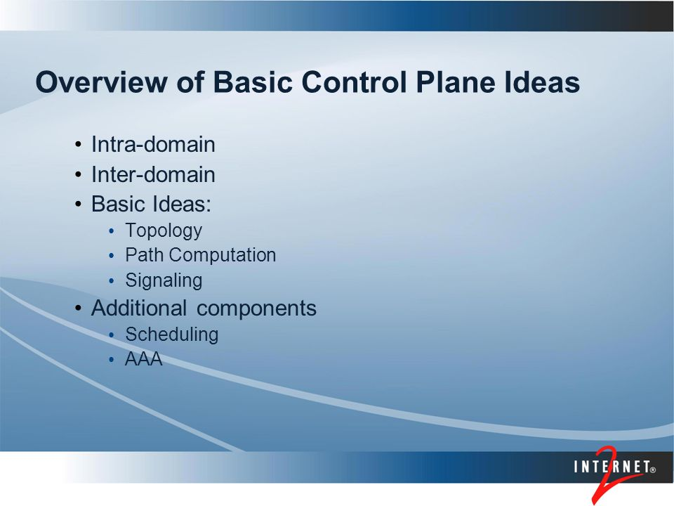 Overview of Basic Control Plane Ideas Intra-domain Inter-domain Basic Ideas: Topology Path Computation Signaling Additional components Scheduling AAA
