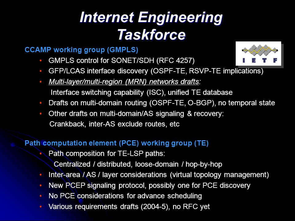 Internet Engineering Taskforce CCAMP working group (GMPLS) GMPLS control for SONET/SDH (RFC 4257) GFP/LCAS interface discovery (OSPF-TE, RSVP-TE implications) Multi-layer/multi-region (MRN) networks drafts: Interface switching capability (ISC), unified TE database Drafts on multi-domain routing (OSPF-TE, O-BGP), no temporal state Other drafts on multi-domain/AS signaling & recovery: Crankback, inter-AS exclude routes, etc Path computation element (PCE) working group (TE) Path composition for TE-LSP paths: Centralized / distributed, loose-domain / hop-by-hop Inter-area / AS / layer considerations (virtual topology management) New PCEP signaling protocol, possibly one for PCE discovery No PCE considerations for advance scheduling Various requirements drafts (2004-5), no RFC yet