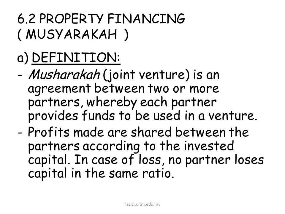 Chapter 6 application of funds financing facilities and the 62 property financing musyarakah adefinition musharakah joint venture platinumwayz