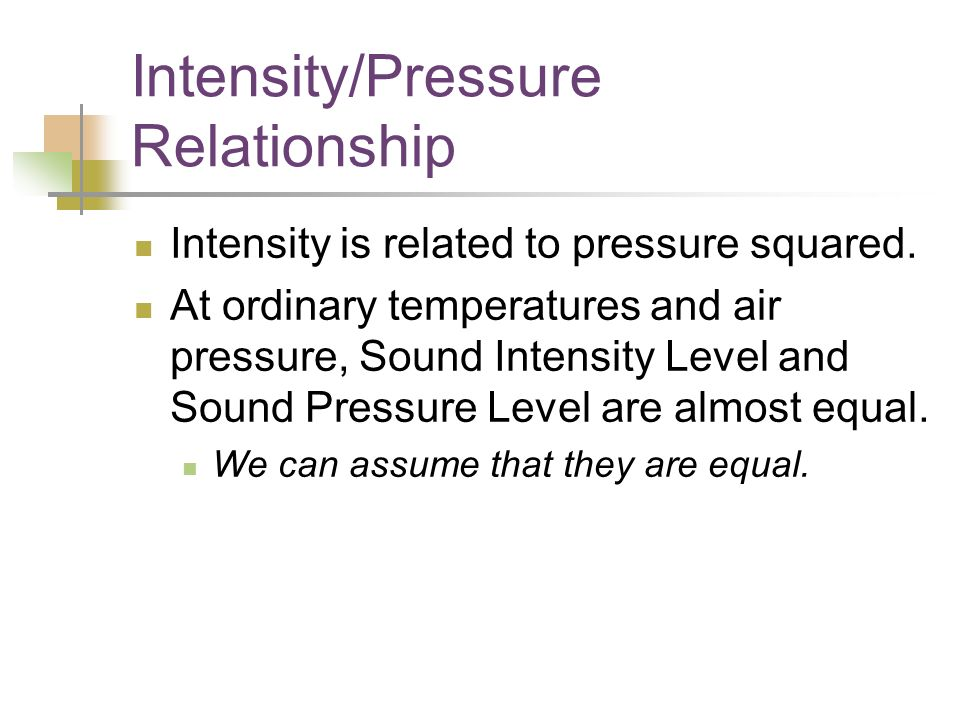 Intensity/Pressure Relationship Intensity is related to pressure squared.