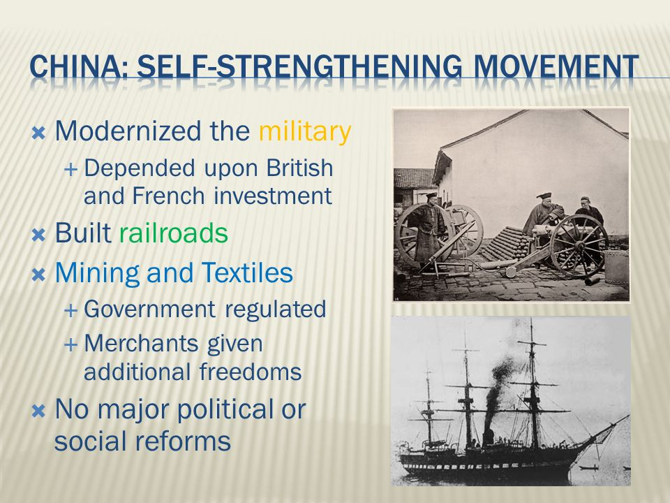  Modernized the military  Depended upon British and French investment  Built railroads  Mining and Textiles  Government regulated  Merchants given additional freedoms  No major political or social reforms