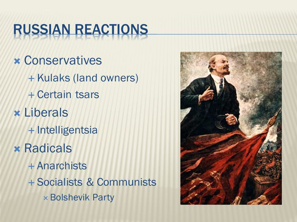  Conservatives  Kulaks (land owners)  Certain tsars  Liberals  Intelligentsia  Radicals  Anarchists  Socialists & Communists  Bolshevik Party