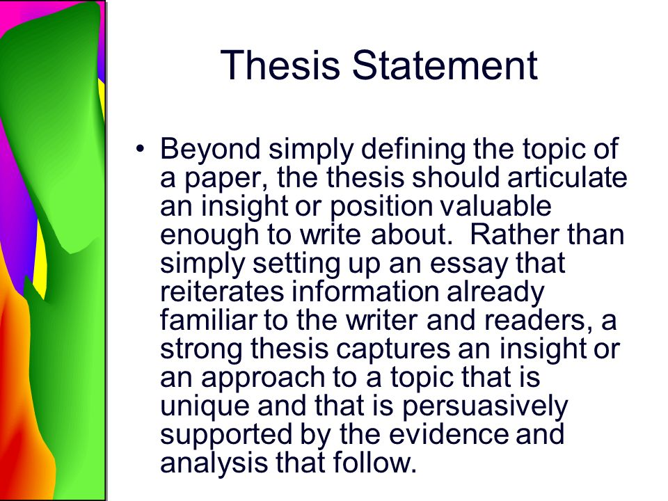the thesis statement of a process essay should be