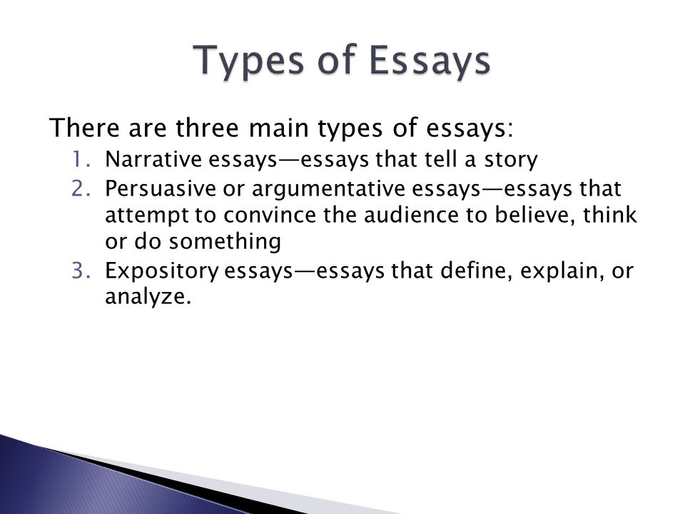 types of essays narrative argumentative Four kinds of essays exist including: narration, description, exposition, and argument four types of essays exist including: narration, description, exposition, and argument each type has a unique purpose: some tell a story, some are descriptive and others prevent viewpoints one of the best ways to better understand each type of essay is to review.