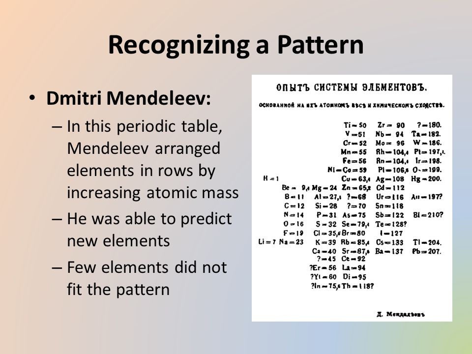 Chapter 5 the periodic table video section 1 organizing the 3 recognizing a pattern dmitri mendeleev in this periodic table mendeleev arranged urtaz Gallery