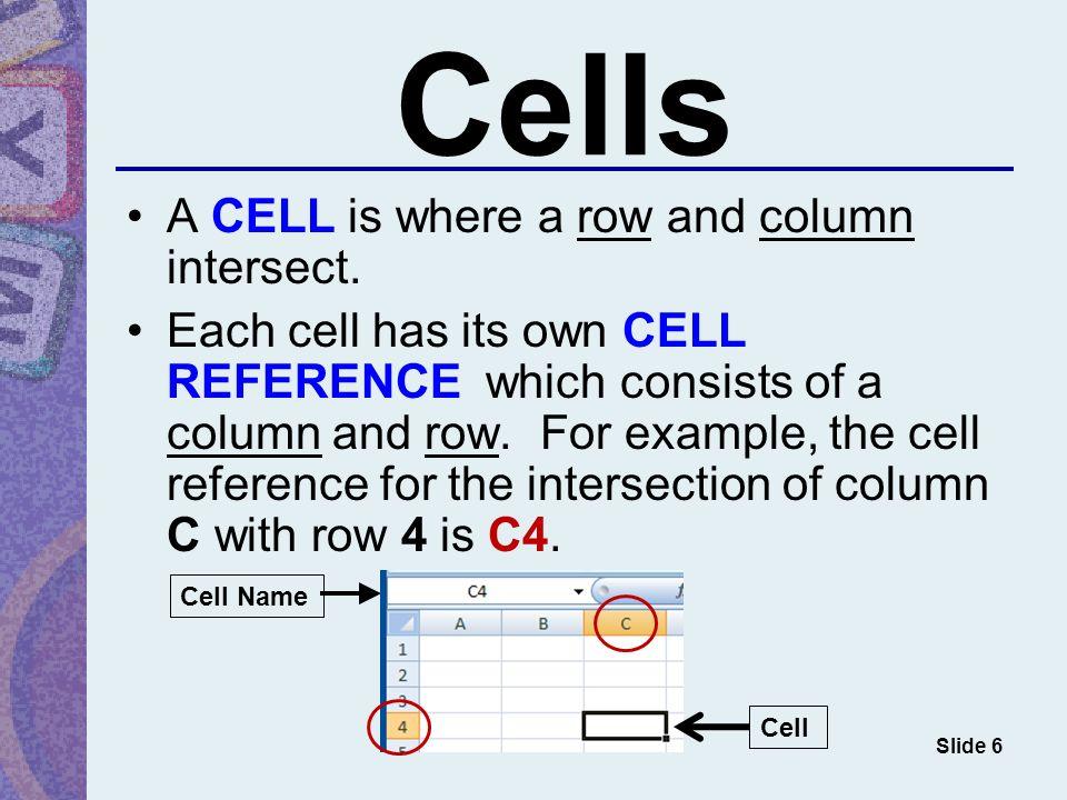 Excel Screen Slide 1 Column Row Cell Formula bar Column heading ...
