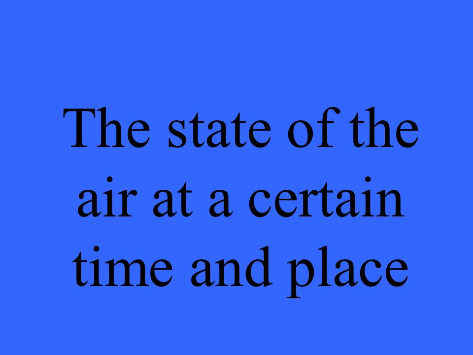 The state of the air at a certain time and place