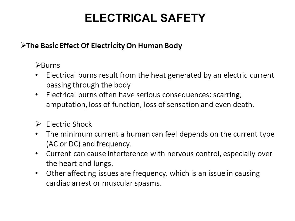The Basic Effect Of Electricity On Human Body Burns Electrical Result From