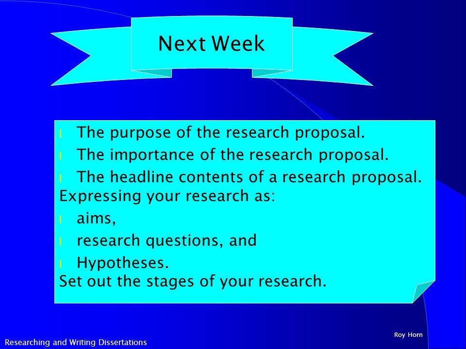 Psychology research proposals